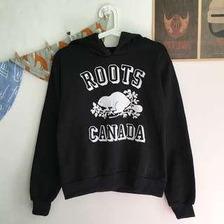 Roots黑色刷毛連帽T恤