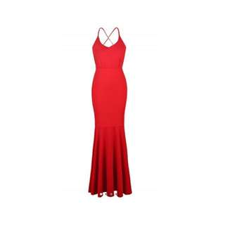 Red Cami Backless Maxi Dress
