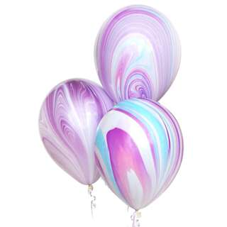 "11"" Marble Printed Latex Balloon (Pink, Purple & Blue)"