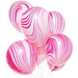 "11"" Marble Printed Latex Balloon (Pink)"