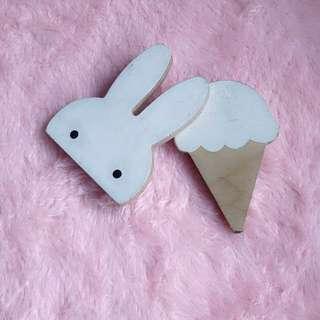 Scandinavian Rabbit + Ice Cream Wall Hook 2Pcs $25