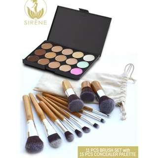 11-Piece Bamboo Make Up Brush Set Tool with Concealer Palette and Pouch
