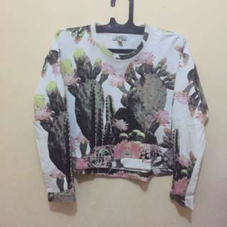 zara tropical trf crop sweater blouse top