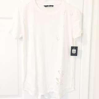 White Or Black Distressed Tshirt