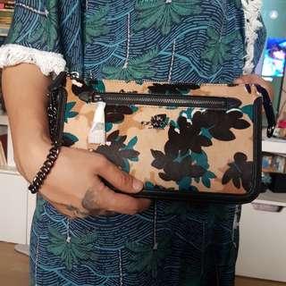 Coach Nolita Calfhair Leaf Print Shoulder/Clutch Bag