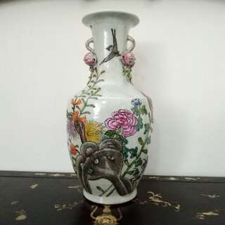 Chinese Vase with Embossed Peaches