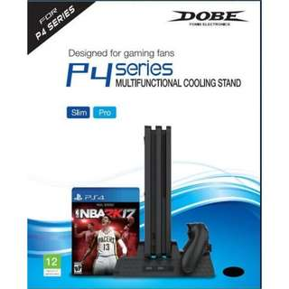 BRAND NEW Sony PlayStation 4 PS4 SLIM / PRO 4 in 1 Dobe Cooling Stand Fan & Charging Dock & USB Port & Game Holder