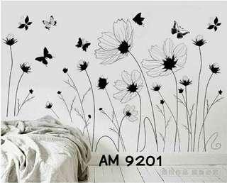 Wall Sticker Uk. 60x90 cm Motif Black And White Flowers