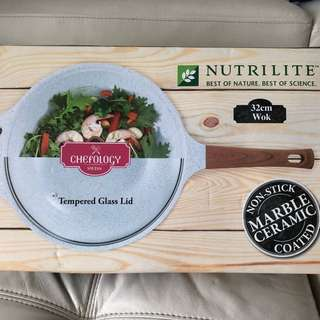BNIB Chefology Marble Ceramic 32cm Wok with tempered glass lid