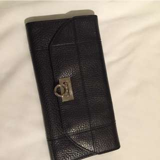 AUTHENTIC Salvatore Ferragamo Long Black Wallet