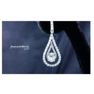 【D-W 香港鑽石世界】《精緻造型鑽石耳環》全新18K白金85份水滴型鑽石耳環 --- 00912-5-228