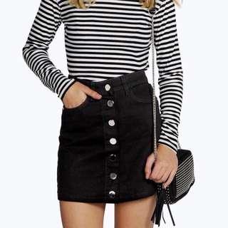 BRAND NEW High Wasted Denim Skirt: Black