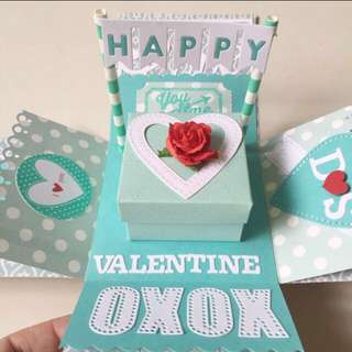 Happy Valentine's Day Explosion Box Card in tiffany blue and white
