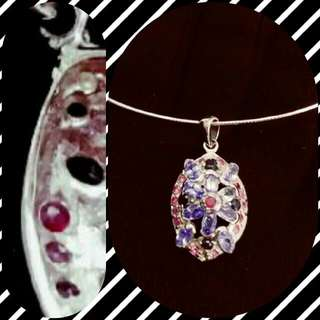 超靚色坦桑石 真藍寶 真紅寶銀925吊咀 連頸鈪 頸鍊 Top blue Tanzanite / genuine Sapphire and Ruby silver pendant with choker necklace