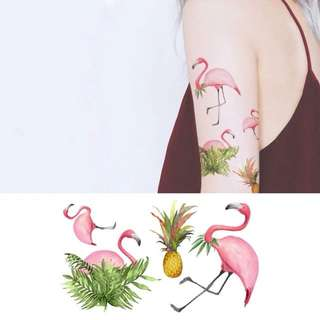 BN Instock Temporary Tattoo Temp Tattoos Flamingo Flamingos Pink Huat Pineapple