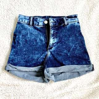 H&M Denim Blue Fade High Waist Shorts