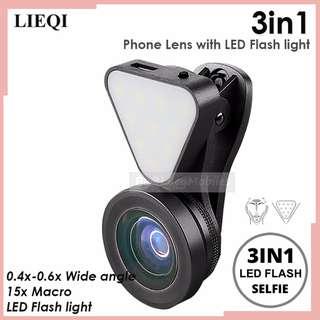 LEIQI 3in1 Clipon Optical Glass Lens 0.4x-0.6x 15X Macro Rechargeable Flashlight (BLACK)
