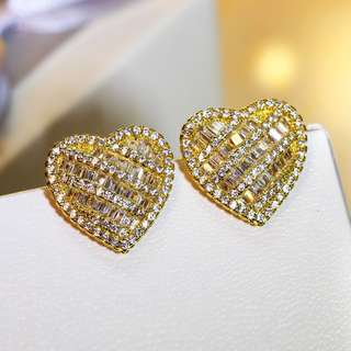 Gold Sweet Heart with CZ Stud Earrings SE13810-D