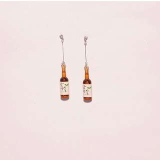 Bottle soju earrings import bkk korea / anting lucu unik hoops