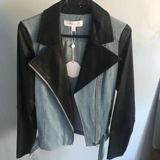 Finders keepers denim x leather jacket