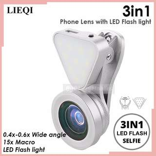 LIEQI 3in1 Clip-on Optical GlassLen 0.4X-0.6X Wide-angle Lens 15X Macro-lens Rechargeable Flashlight (SILVER)