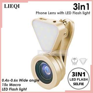 LIEQI 3in1 Clip-on Optical GlassLen 0.4X-0.6X Wide-angle Lens 15X Macro-lens Rechargeable Flashlight (CHAMPAGNE)