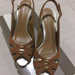 Charles and Keith nude camel heels