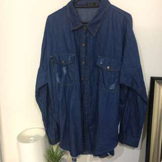 Denim Dress Shirt,, Size 14