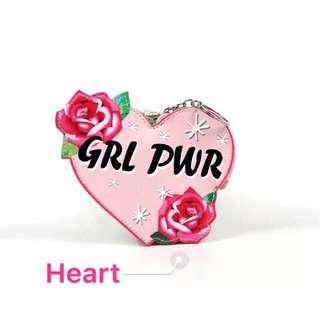 Heart Girl Power Keychain Wallet