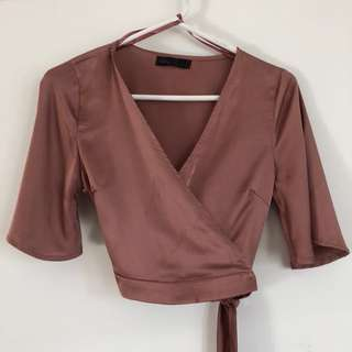 Ally Pink Wrap Top S8
