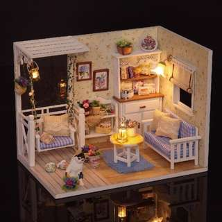 GIFTIDEA Dollhouse Miniature DIY House Kit Creative Room With Furniture and Cover for Romantic Artwork Gift(Kitten Diary)