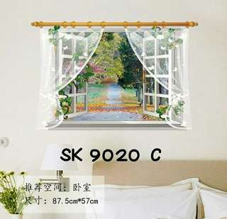 Wall Sticker Uk. 60x90 cm Motif Bunga Di Tepi Jalan
