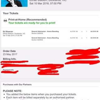 2x Sheeran Etihad Stadium tickets 10th March