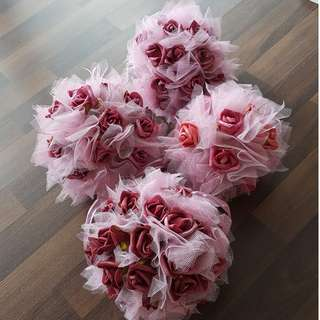 Pink Plastic Rose Balls (4pc)
