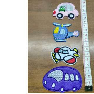 Lot of 4 iron on transportation applique patch fabric badge decoration (train, plane, helicopter and car) free normal postage