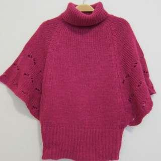 桃紅色飛鼠袖毛衣