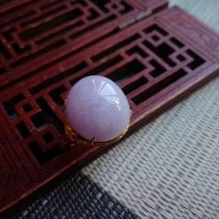 翡翠A貨18k金鑲鑽飽滿種好水潤細膩紫羅蘭蛋面戒指特惠包郵順豐,配送證書