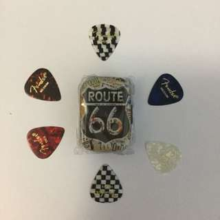 Route 66 Mini pick tins with 6 Premium Fender plectrums