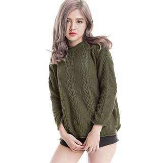 Olive cable knit pullover