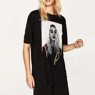 Zara oversized black graphic statement tshirt tee top