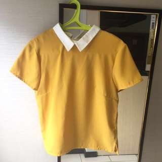 Cotton Ink Mustard Collared Top [REPRICED!]