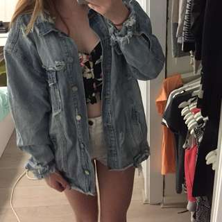 Misguided oversized distressed jacket