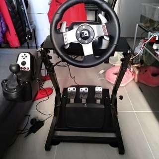 Logitech G27 連摺疊車架 有波棍 賽車軚盤 腳踏