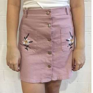 NEW Embroidered Floral button skirt