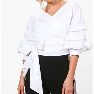 White Ruffle Wrap Top