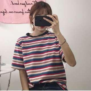 [po] tumblr ulzzang basic stripes top