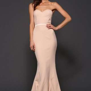 Pale pink/ nude fishtail strapless formal dresss