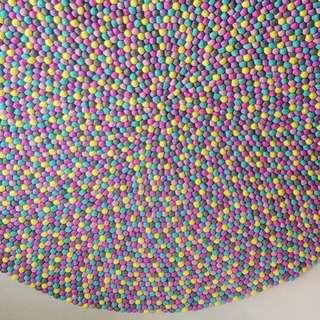 Handmade Felt Ball Bubblegum Rug