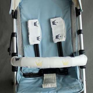 🌈Ready Stock) 🔆Brand New 3 Pieces - 6 layers soft gauze cotton stroller accessories (handle bar protective cover + 2 armrest seat belt cover) baby drool & teething pads