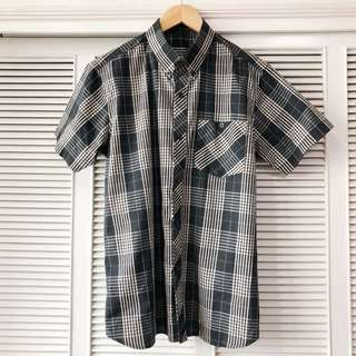 Men's Black and Cream Plaid Shirt